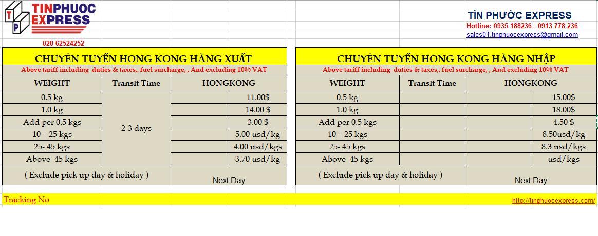 Gửi hàng đi Hong Kong bao nhiêu 1kg